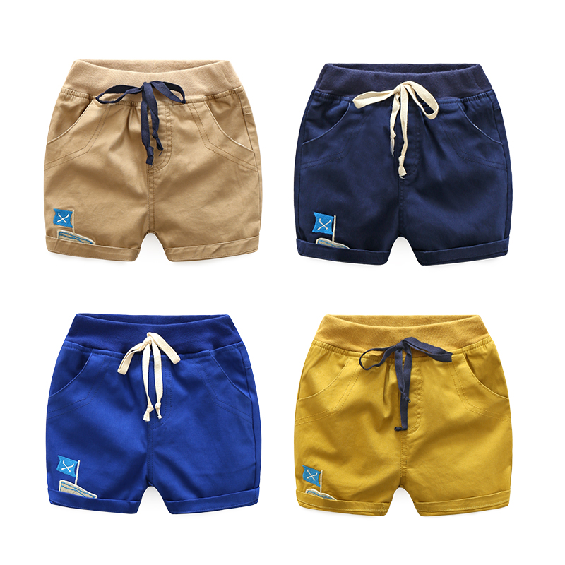 Boys embroidery sailing shorts hot pants pants 2018 summer Korean version of the new children's clothing baby children's pants t baby baby 2018 new baby korean version striped pp pants suit