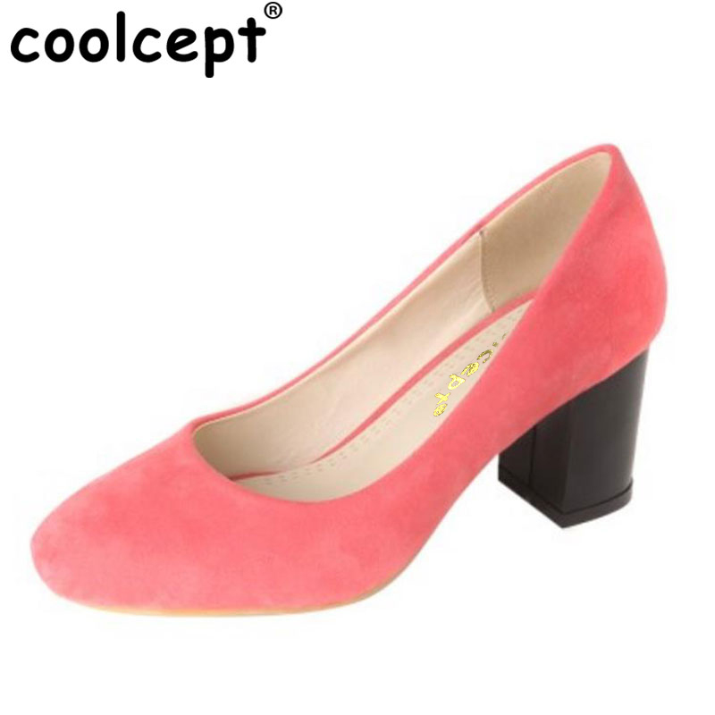 Coolcept Size 34-43 Sexy Lady High Heel Shoes Women Solid Color Square Toe Thick Heel Pumps Office Lady Party Club Female Shoes fender squier vintage modified jaguar rw surf green