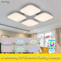 Celing Огни холодный белый + теплый белый Luminaria Bluetooth Музыка света Интеллектуальный App Управление абажур/современные потолочный светильник