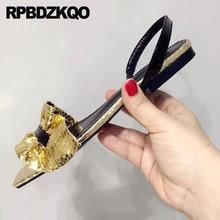 Gold Flat  Strap Slingback