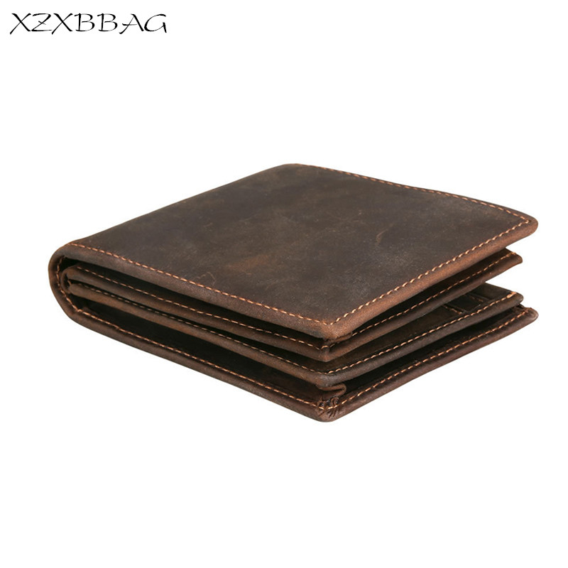 цена на XZXBBAG Genuine Crazy Horse Cowhide Leather Men Wallet Retro Short Coin Purse Double Zipper Money Bag Brand Male Clutch RFID