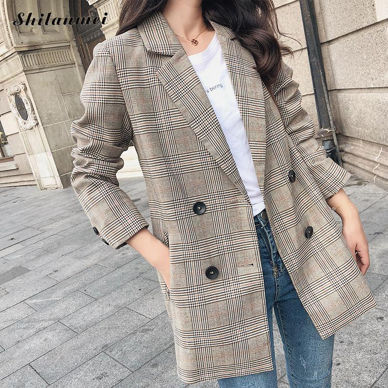 Autumn Winter Retro Boyfriend Check Plaid Blazer Woman Notched Pocket Double Breasted Suit Jackets Loose Coat Female Outerwear Excellent (In) Quality