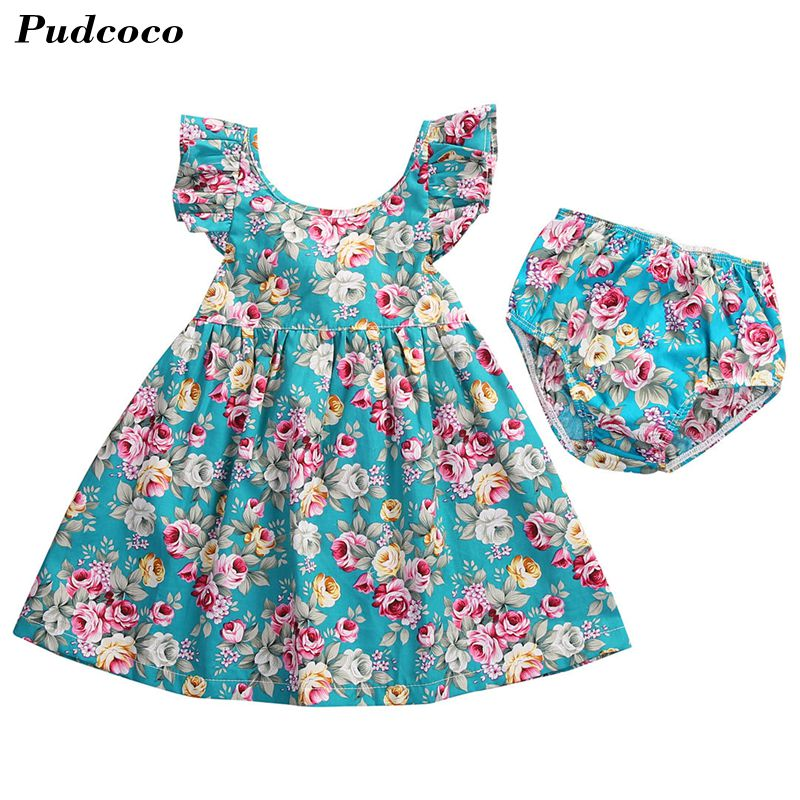 INS HOT Drop Shipping Summer Infant Baby Girl Ruffle Floral Dress Sundress Briefs Outfits & Floral Shorts Clothes Set 3pcs set newborn infant baby boy girl clothes 2017 summer short sleeve leopard floral romper bodysuit headband shoes outfits