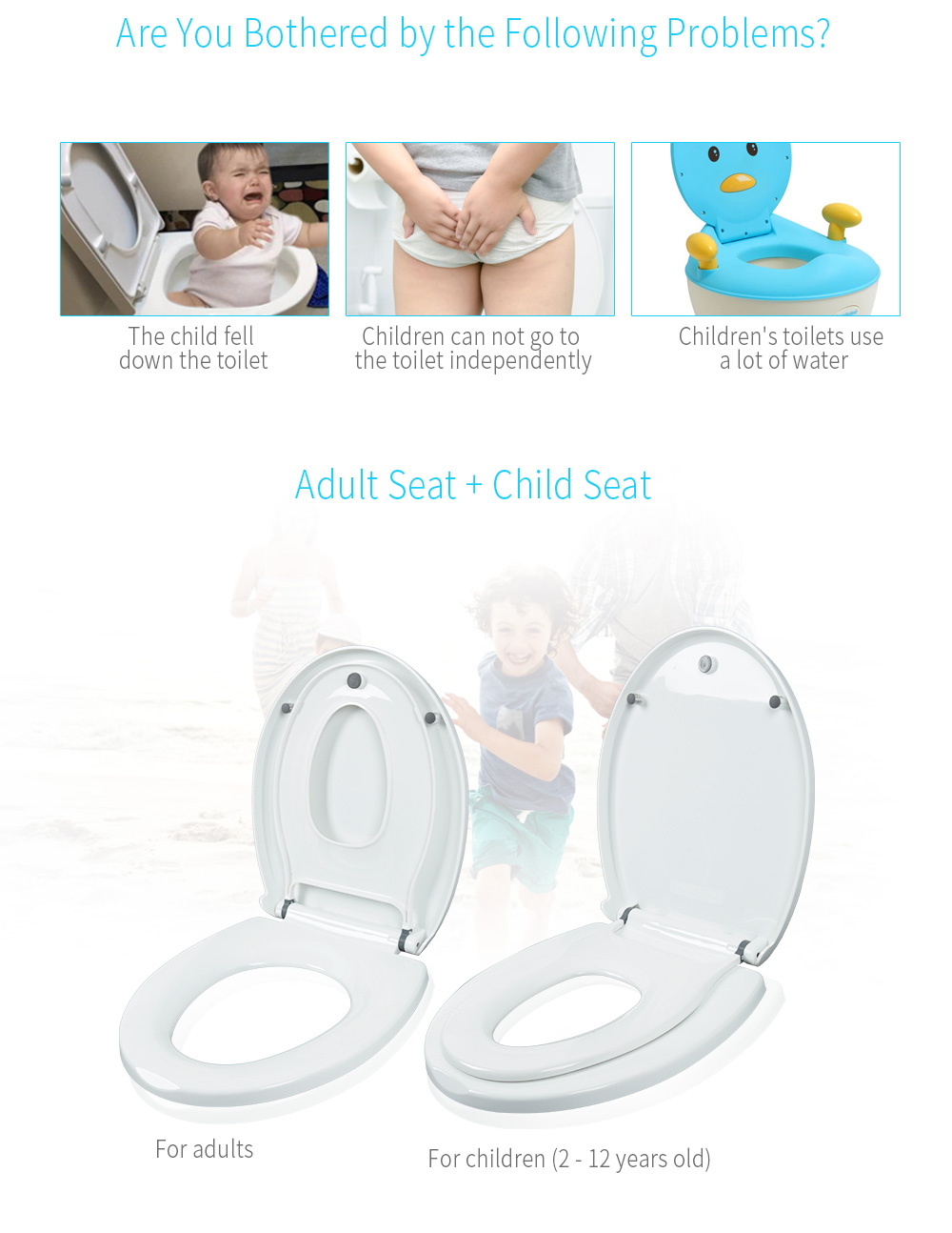 Superb Household Round Adult Toilet Seat With Child Potty Training Cover Pp Material Double Seats Safe Convenient For Adult Children Caraccident5 Cool Chair Designs And Ideas Caraccident5Info
