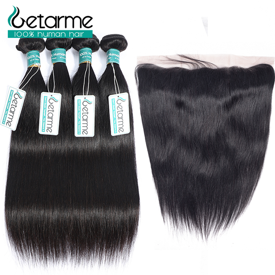 Diligent Getarme Lace Frontal With Bundles Straight Human Hair 3 Bundles With Closure Non Remy Brazilian Hair Weave Bundles With Frontal We Have Won Praise From Customers Human Hair Weaves