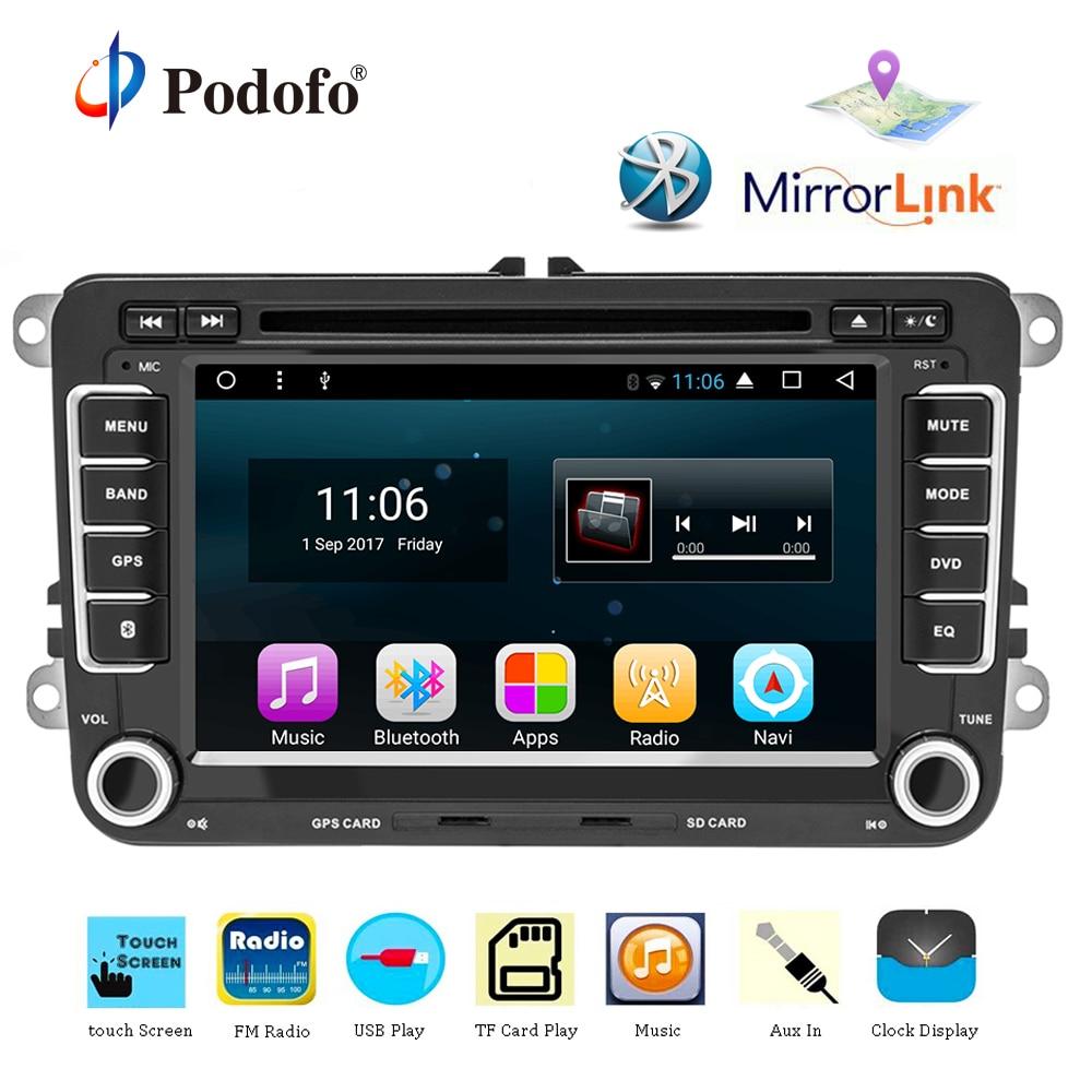 Podofo Car Multimedia player Android 7.1 1 GPS Autoradio 2 Din USB For Volkswagen/ Passat/POLO/GOLF/Skoda/Seat/Leon Radio Wifi isudar car multimedia player 2 din car radio gps android 8 0 autoradio for vw volkswagen polo golf skoda octavia seat leon dsp