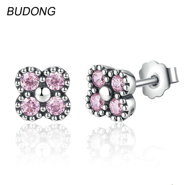 Budong Real 925 Sterling Silver Stud Earrings For Women Fine Jewelry Unique Pink Topaz Stone Earing
