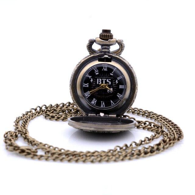 Antique Small Size BTS Bronze Quartz Pocket Watch Mens Womens Necklace Chain Pen