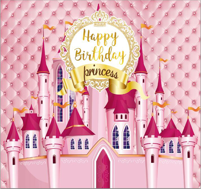 Photography backdrop Princess pink castle headboard happy birthday children's photographic backgrounds photocall studio