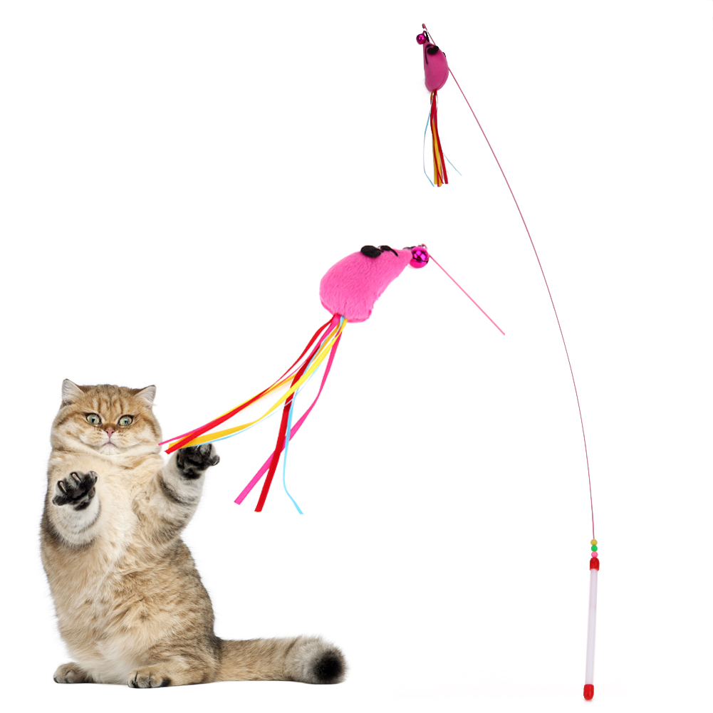 2017 New Funny Mouse Cat Stick Plastic Rods Steel Wire Solid Cat Toy for Puppy Pet Cats Interactive Toys Colourful Cat Teaser