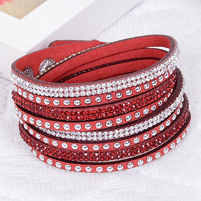 Frühling Armband Strass Bling gewickelt Armbänder Double Wrap - Modeschmuck