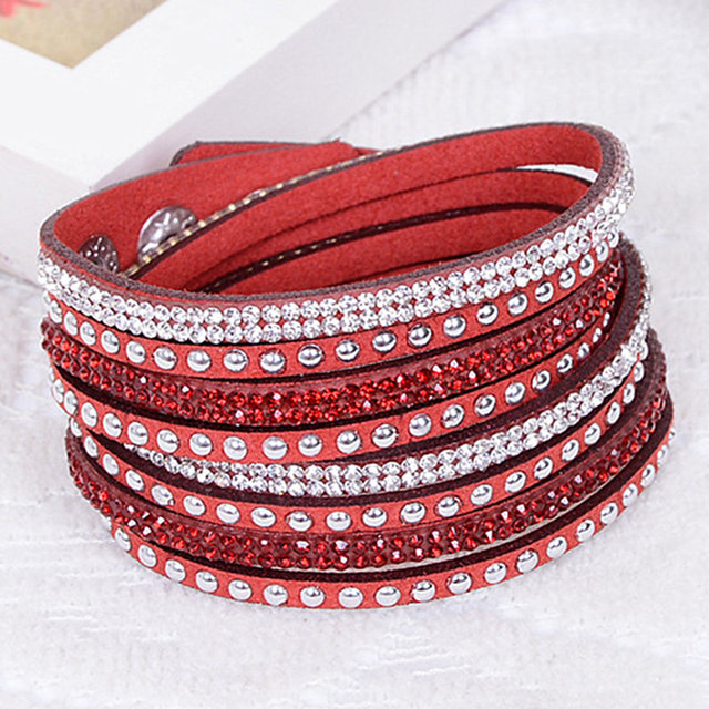 Spring Bracelet Rhinestone Bling Wred Bracelets Double Wrap Leather Wristband Crystal Charms Chokers
