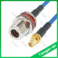 N typ mit mutter auf SMA buchse mit RG402 RG141 RG-402 Blau RF Coaxial Jumper cable20in 50 cm Semi Flex Low Loss kabel