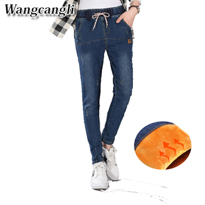 Fashion Winter cashmere Jeans for woman Stretch Thicken Jeans High Quality Denim Trousers warmed pants for women Free shipping