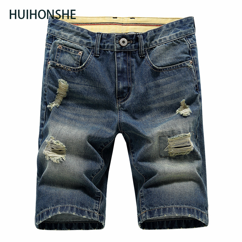 HUIHONSHE 2017 New High Quality Cotton Fashion Casual Slim Straight Hole Ripped Short Jeans For Men,Denim Summer Short Men Jeans