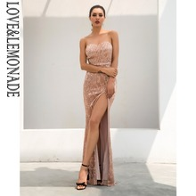 0512e641a2 Love Lemonade Sexy Champagne Tube Top Cut Out Fish Tail Shaped Elastic  Sequin Material Long Dress LM1055