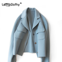 Japan fashion high quality clean style solid color women warm wool coat handmade double side cashmere top casual overcoat 114