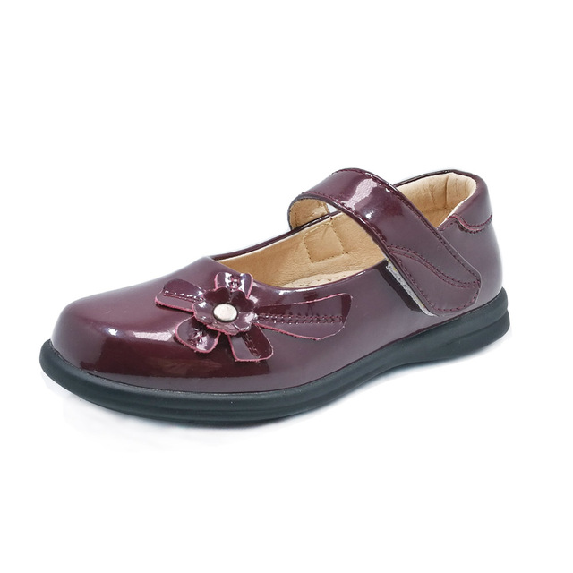 Girls Dress Patent Leather School Shoes Children Dark Red Orthopedic