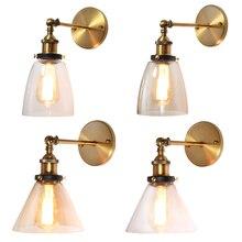 American retro loft wall lamp oval transparent amber glass design vintage industrial home light metal base