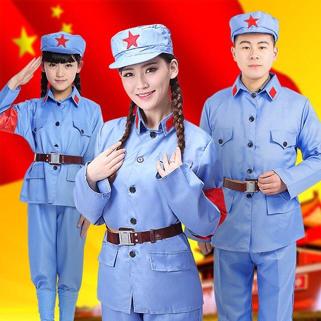 Дети Китайской Армии Костюм Взрослого Восьмой Маршрут Армии Женский Костюм Мужчины Этап Производительность Halloween Party Косплей Одежда 18