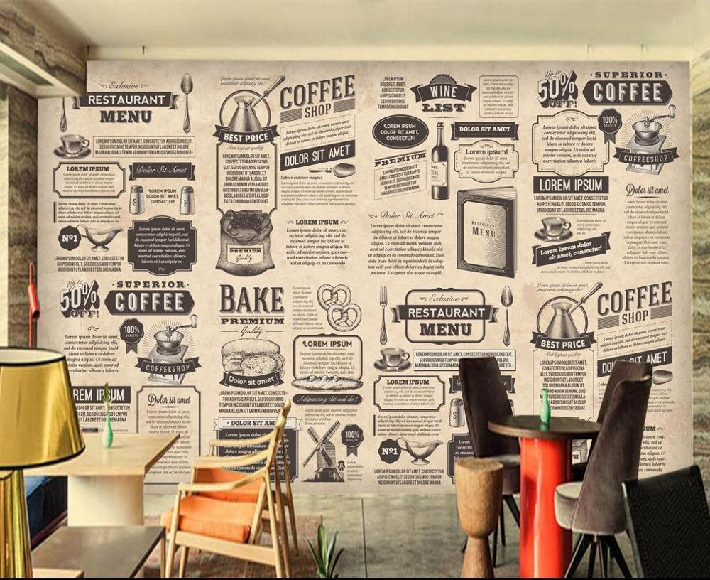 Free Shipping Old Newspaper Puzzle Wallpaper English Alphabet Bar Restaurant Background Bedroom Living Room Murals