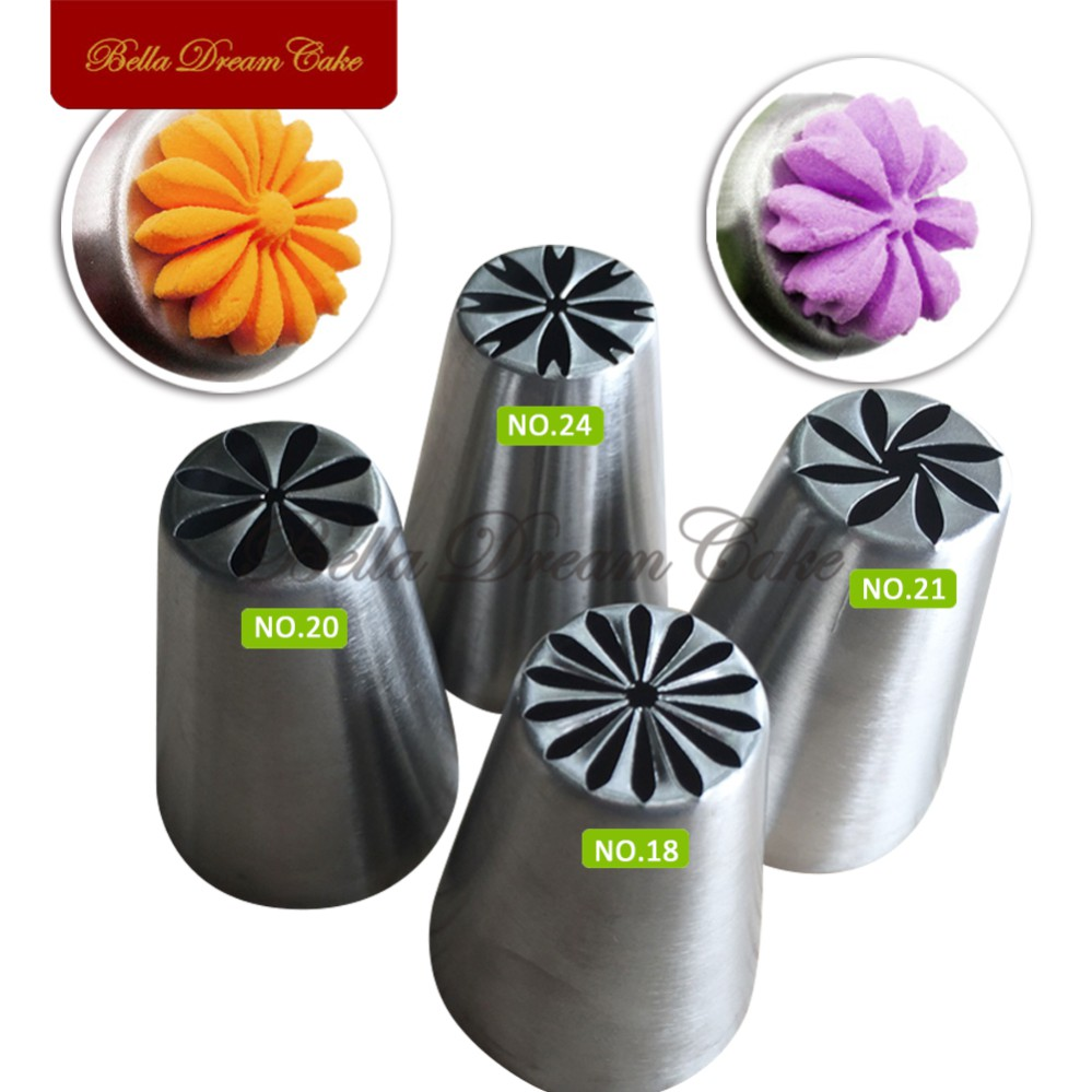 4pcs New Russia Nozzles Russian Tulip Icing Piping Tools Pastry Decorating Tips Cake Cupcake Decorator Rose
