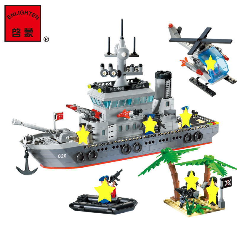 Enlighten Modern Military Blocks Soldier War Weapon Cannon Battleship Bricks Building Blocks Sets SWAT Classic Toys For Children civil war battleship the monitor level 4