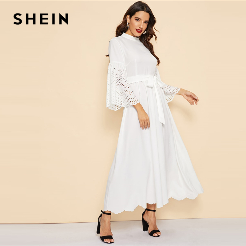 cee879021b170 SHEIN White Stand Collar Scallop Edge Laser Cut Belted Plain Dress Women  Casual 2019 Summer Flounce Sleeve Mid Waist Dresses