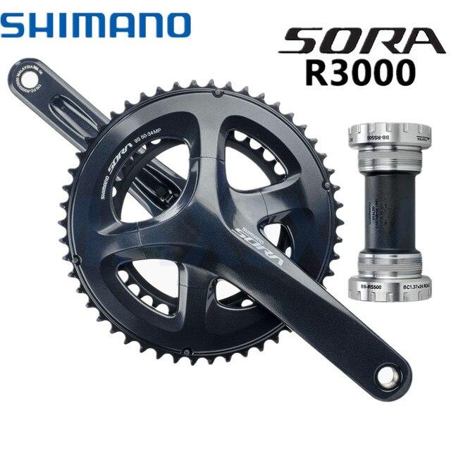 b75c6e2430b Shimano Sora FC-R3000 2 x 9 Speed Chainset Crankset 50t/34t Rings & 170mm  Arms R3000 COMPACT Hollowtech 2 Crankset BB-RS500