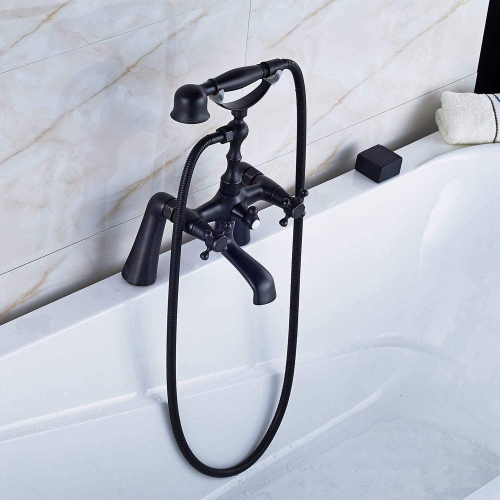 Oil Rubbed Bronze Dual Handles Bath Tub Faucet Mixer Tap With TELE Hand Shower black oil rubbed bronze bathroom dual handles dual control wall mounted bath tub mixer tap handheld shower head faucet wtf566