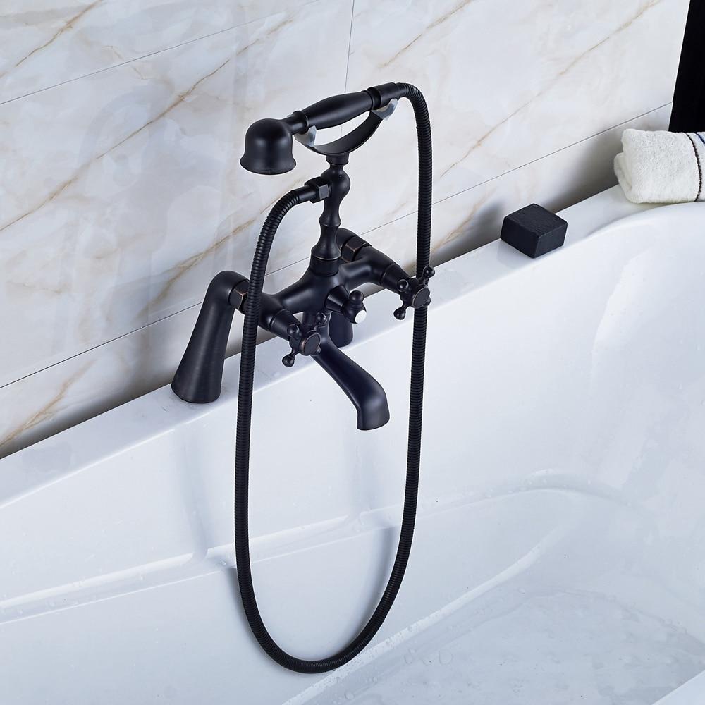 Oil Rubbed Bronze Dual Handles Bath Tub Faucet Mixer Tap With TELE Hand Shower black oil rubbed brass bathtub mixer faucet dual handle bath shower set with hand shower swivel tub spout ntf511