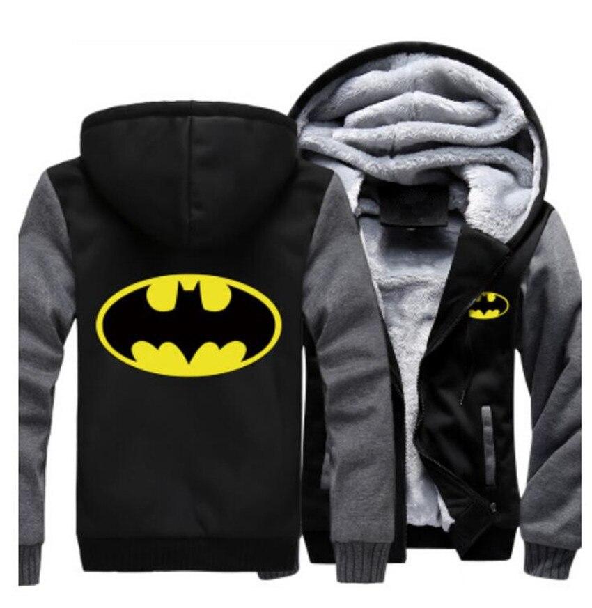 US Size Adult font b Men b font Women Jackets Batman Cosplay Zipper Fleece Jacket Thicken