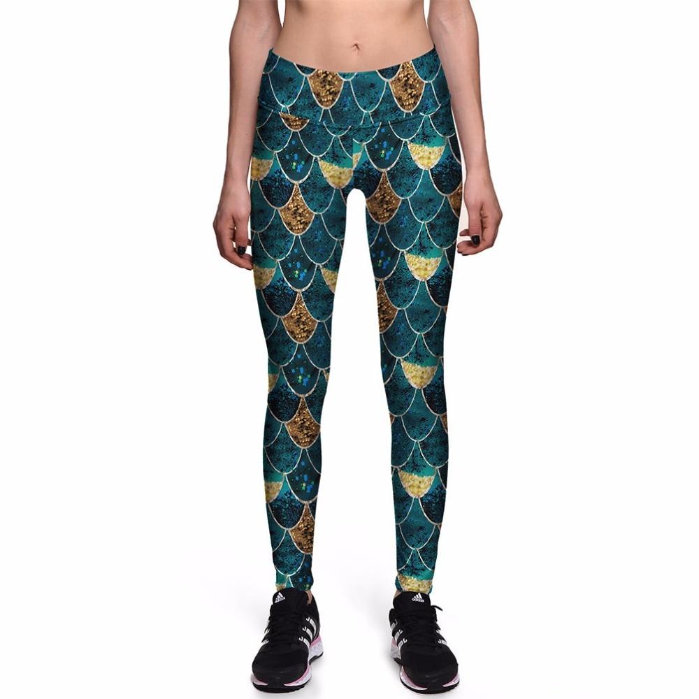 2 Patterns High Waist Blue-Yellow Fishscale Sport Women Pants Yellow Batterfly Print Girls Running Gym Jogging Pant S To 3xL