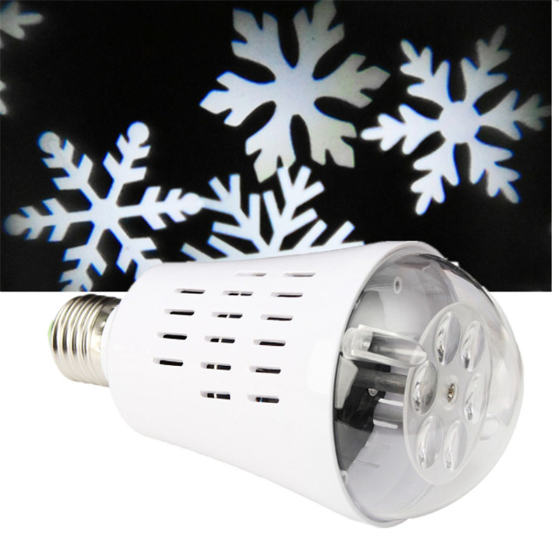 Smuxi Projector Bulb Light Christmas Lights Outdoor Auto Rotating 4 LED Moving Dynamic Snowflake Film Pattern Decoration Lamp