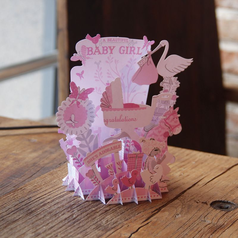 10pcs Retail Laser Cut Pink 3D Handmade Baby Girl Party Personalized Greeting Cards For Birthday Gifts Present Free Shipping