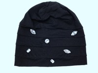 B17997 Fashion New Style Solid 100 Cotton Hats Hand Sew Blingbling Crystal Black Wrinkle Fashion S
