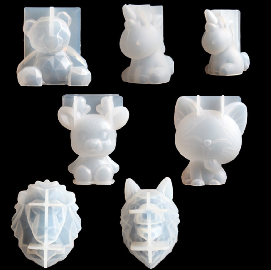 Transparent Unicorn Silicone Epoxy Resin Molds Geometry Bear Rabbit Mould Animal Aromatherapy Candle Making Form Decoration Tool