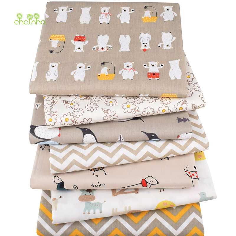 Chainho,7pcs/lot, New Cartoon Series,Printed Twill Cotton Fabric,Patchwork Cloth,DIY Sewing Quilting Material For Baby&Children