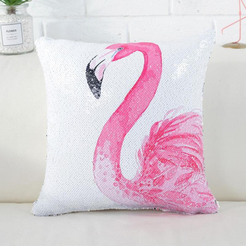Flamingo Reversible Sequins Cushion Cover 40*40 Decorative Mermaid Square Throw Pillow Case Cheap Home Sofa Seat Car Decoration