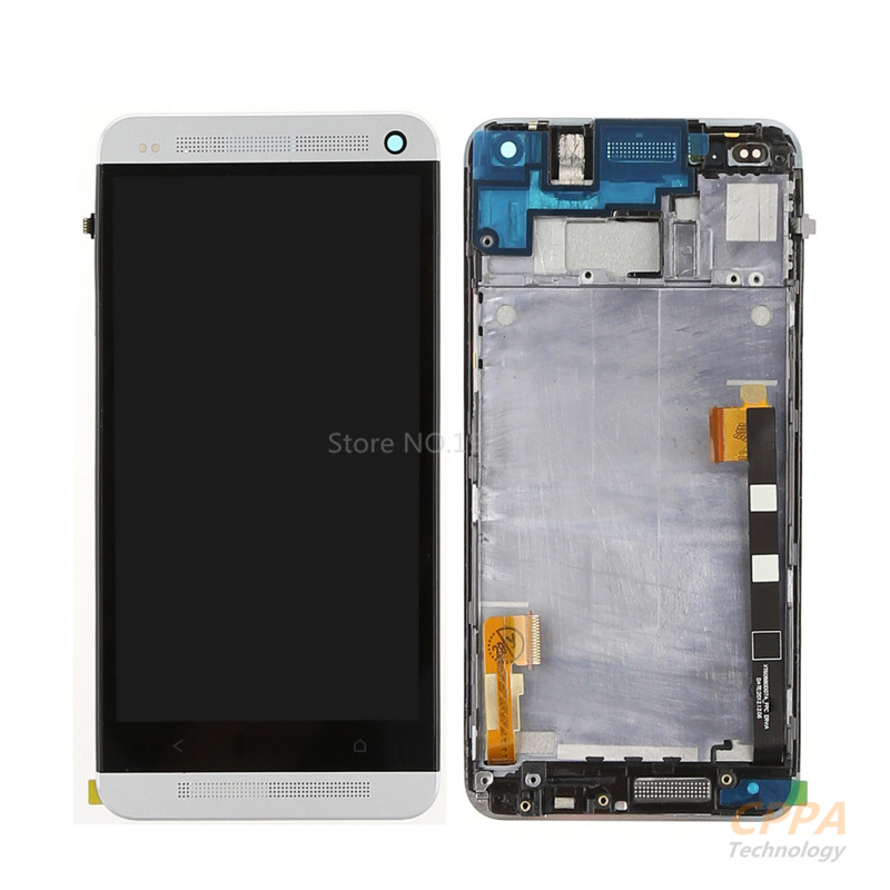 APS LCD display Touch Screen with Digitizer Full assembly +bezel frame repair parts For HTC ONE M7 lcd screen assembly for apple iphone 4 4g lcd display touch screen digitizer pantalla with frame bezel replacement black white