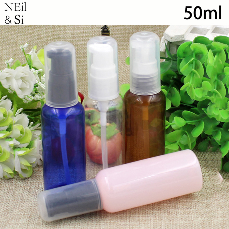 <font><b>50ml</b></font> Plastic Pump <font><b>Spray</b></font> <font><b>Bottle</b></font> Cosmetic Makeup Cream Shampoo Lotion Press Container Blue Brown Green Pink Red Free Shipping image
