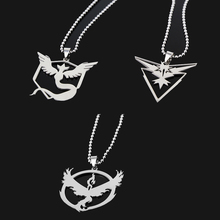 New Pokemon Go Necklace Game Anime Stainless Steel Team Valor Mystic Instinct Logo Bead Chain for Women and Men fans