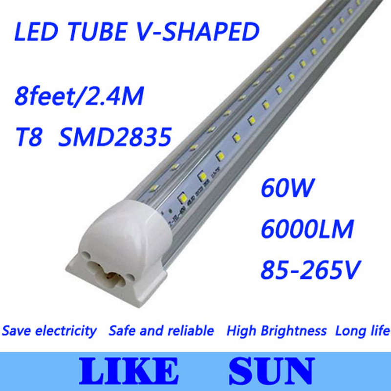 Free shipping 25pcs/lot Integrated Cooler Door T8 8feet 2400mm 60W SMD2835 6000lm 85-265V V-Shaped led tube light free shipping 1800mm home lighting 6ft t5 integrated led tube lights smd2835 28led pcs 30w 100pcs lot