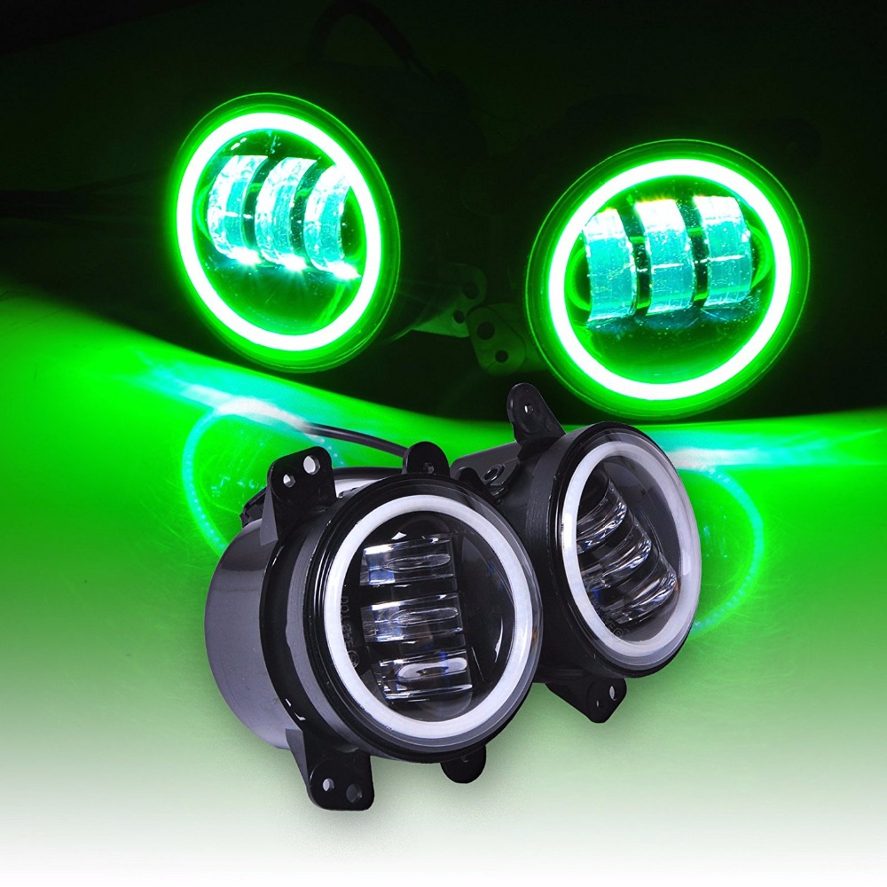 For Jeep wrangler foglights 60W 4 INCH Round led fog light Green halo Ring & White lamp DRL Bulb Angel eyes for JK JKU TJ LJ auxmart 22 led light bar 3 row 324w for jeep wrangler jk unlimited jku 07 17 straight 5d 400w led light bar mount brackets