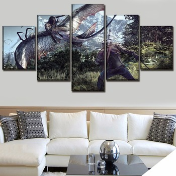 5 Panel Game The Witcher 3 Wild Hunt Duel Painting Modern Home Wall Decor Picture Canvas Art Print Poster For Modern Living Room