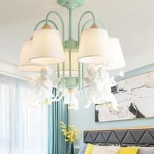 Ангелы светодиодный потолочная люстра с Ткань абажур настольной лампы для Гостиная белый металлические люстры зеленый E27 блестящая деревянная подвесные MING