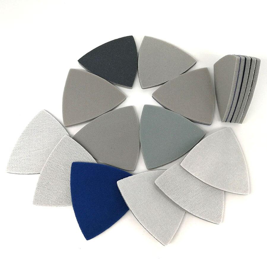 90x90x90mm Triangle Back Velvet Sponge Sanding Disc Multifunction Sandpaper 300-3000 Grit Abrasive Tools For Polishing Grinding