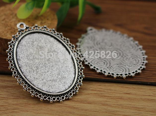5pcs 30x40mm Inner Size Antique Silver Pierced Style Cabochon Base Setting Charms Pendant (B3-52) pierced