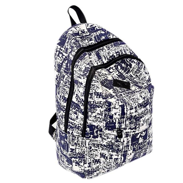 0802a2de6b39 Vintage women s backpack Large capacity canvas newspaper printing backpack  Rucksack Travel School Bag mochila feminina