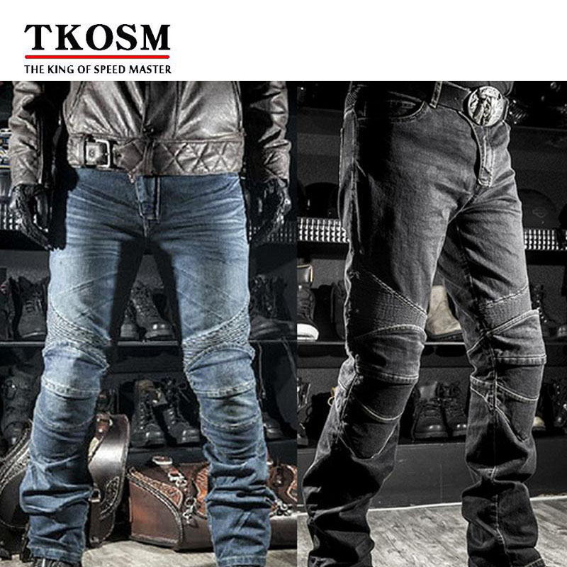 TKOSM High Quality Motocross Motorcyle Pants for Men Moto Racing Jeans With Knee Pad Trousers Moletom Moto Comfortable Trousers high quality men s printed jeans punk style cotton straight leg cool jeans for young men comfortable trousers new brand yf52